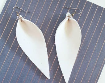 """Natural White Leather Earrings// FREE SHIPPING// Joanna Gaines Magnolia Market Zia Inspired//Leaf Shape// Lrg// 3.25""""x1.25""""//Hypo-Allergenic"""