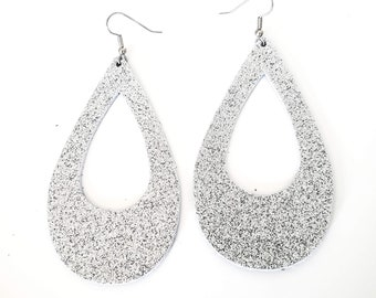 Silver Glitter Leather Teardrop Earrings / Cutout / Statement Earrings / Classic Style  / Lightweight & Comfortable / Bold Fashion / Large