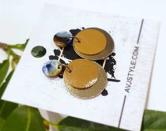 Acrylic & Leather Disc Earrings / Earth / Metallic Sand / Small Earrings / Acetate Earrings / Retro Earrings / Statement Earrings / Gift