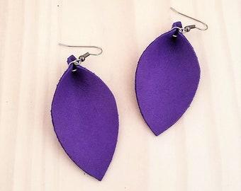 """Genuine Leather Earrings / Ultra Violet / Leather Leaf Earrings / Purple Earrings / Bright Color Jewelry / Statement Earrings / 2.5"""" x 1.25"""""""