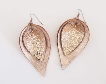 Metallic Layered Leather Earrings/ Shimmering Sands/ Shimmer Collection/ Petal Earrings/  Style/ Multiple Sizes/ Gift for her