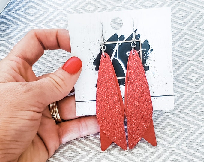 "Leather Earrings / Frosted Chili Pepper / Pixie Style / Dragonfly Fairy Wings / Dangle Earrings / Handmade / Aella V Jewelry / 3""x .75"""