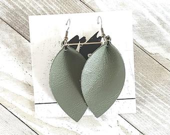 Olive Green / Leather Earrings / Leaf Earrings / Petal Earrings / Green Earrings / Medium Earrings / Statement Earrings / Dangle Earrings