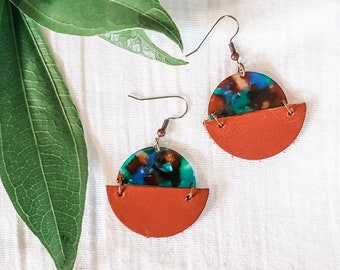 Geometric Leather & Acrylic Resin Statement Earrings, Half Moon Semi Circle Earrings, Lightweight, Modern Earrings, Copper / Green Lagoon