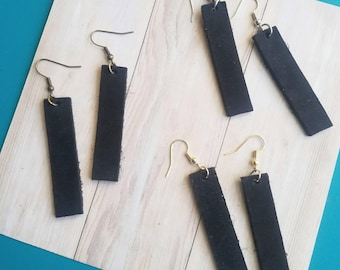 """Black Leather Earrings / FREE SHIPPING /   / Bar Shape / Medium/ 2""""x.5""""/ Silver, Gold or Antique Brass/ Gift"""