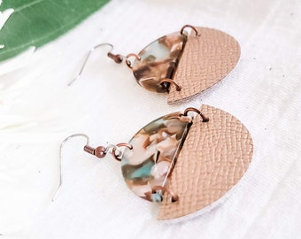 Geometric Leather & Acrylic Resin Statement Earrings, Half Moon Semi Circle Earrings, Lightweight, Modern Earrings, Rose Gold / River Rock