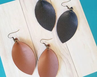 Black or Brown Leather Earrings / Leather Leaf Earrings / Dangle Earrings / Drop Earrings / Rustic Style / Aella V Jewelry / Gift for her