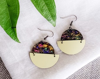 Geometric Leather & Acrylic Resin Statement Earrings, Half Moon Semi Circle Earrings, Lightweight Earrings, Modern Earrings, Abalone Yellow