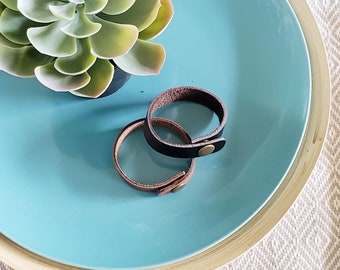 Leather Bracelets / 2-Pack / Slim Leather Cuffs / Assorted Colors / Boho Style / Antique Brass or Silver Snap / Personalized / Adjustable