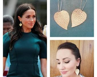 Meghan Markle Earrings / Gold or Silver Earrings / Leather Earrings / Drop Earrings / Leaf Earrings / Duchess / Statement Earrings / 3 x 1.5