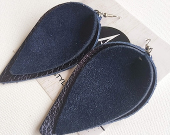 """Genuine Leather Earrings / Navy Suede / Layered Petal / 2019 Suede Collection /  Style / Large / 3 x 1.75"""" / Hypoallergenic"""