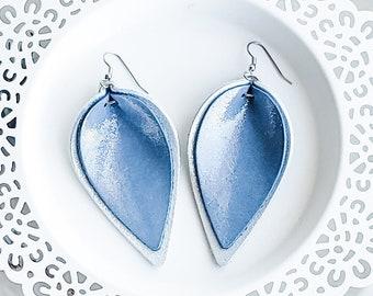 Genuine Leather Earrings / Layered Petal / Ice Queen (Blue/Silver) / Shimmer / Layered Leather Earrings / Rustic / Metallic Sheen / Large