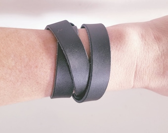 """Black Leather Wrap Bracelet / FREE SHIPPING /  Style / Fixer Upper /  / Antique Brass Snap Closure/ .5""""x24"""""""