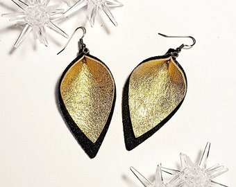 Holiday Gala Gold / Genuine Leather Earrings / Layered / Black & Gold / Handmade /  Style / Medium / AellaVJewelry / Gift Idea