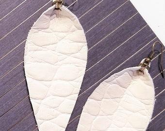 "Leather Leaf Earrings / Antique White / Genuine Leather Earrings / Feather Earrings / Statement Earrings / Long Earrings / 3.5""x1.25"""