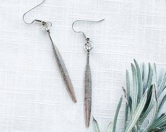 """Willow Leaf Earrings / Antique Silver Earrings / Minimal Earrings / Feather Earrings / Statement Earrings / Aella V Jewelry / 2.25 X .25"""""""