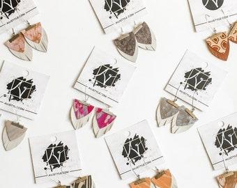Layered Leather Earrings / Newport Beach Collection / Boho Fringe Earrings / Drop Earrings / Arrowhead Earrings / Statement Earrings / Gift