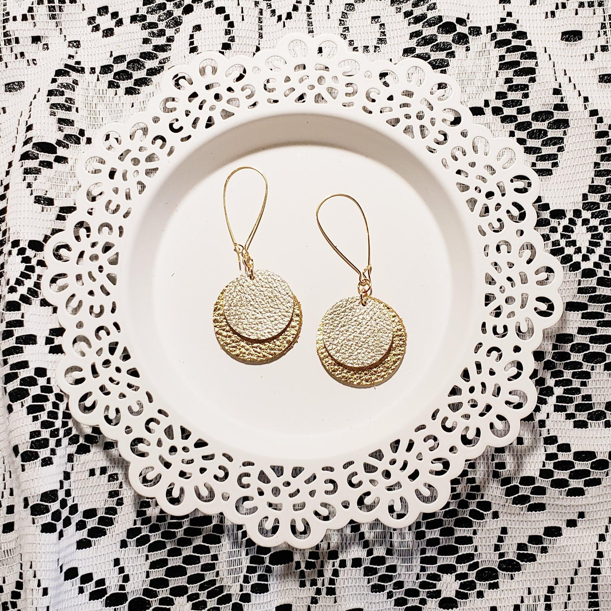 Gold Earrings Leather Jewelry Gray Earrings Circle Earrings Dangle Earring Leather Gift Unique Gift Cutout Earrings