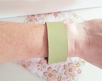 """Lime Green Leather Cuff Bracelet / FREE SHIPPING /  Style/ Fixer Upper / / Ant. Brass Snap Closure/ 1""""x 9"""""""