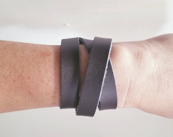 """Dark Brown Leather Wrap Bracelet / FREE SHIPPING /  Style / Fixer Upper /  / Antique Brass Snap Closure/ .5""""x24"""""""