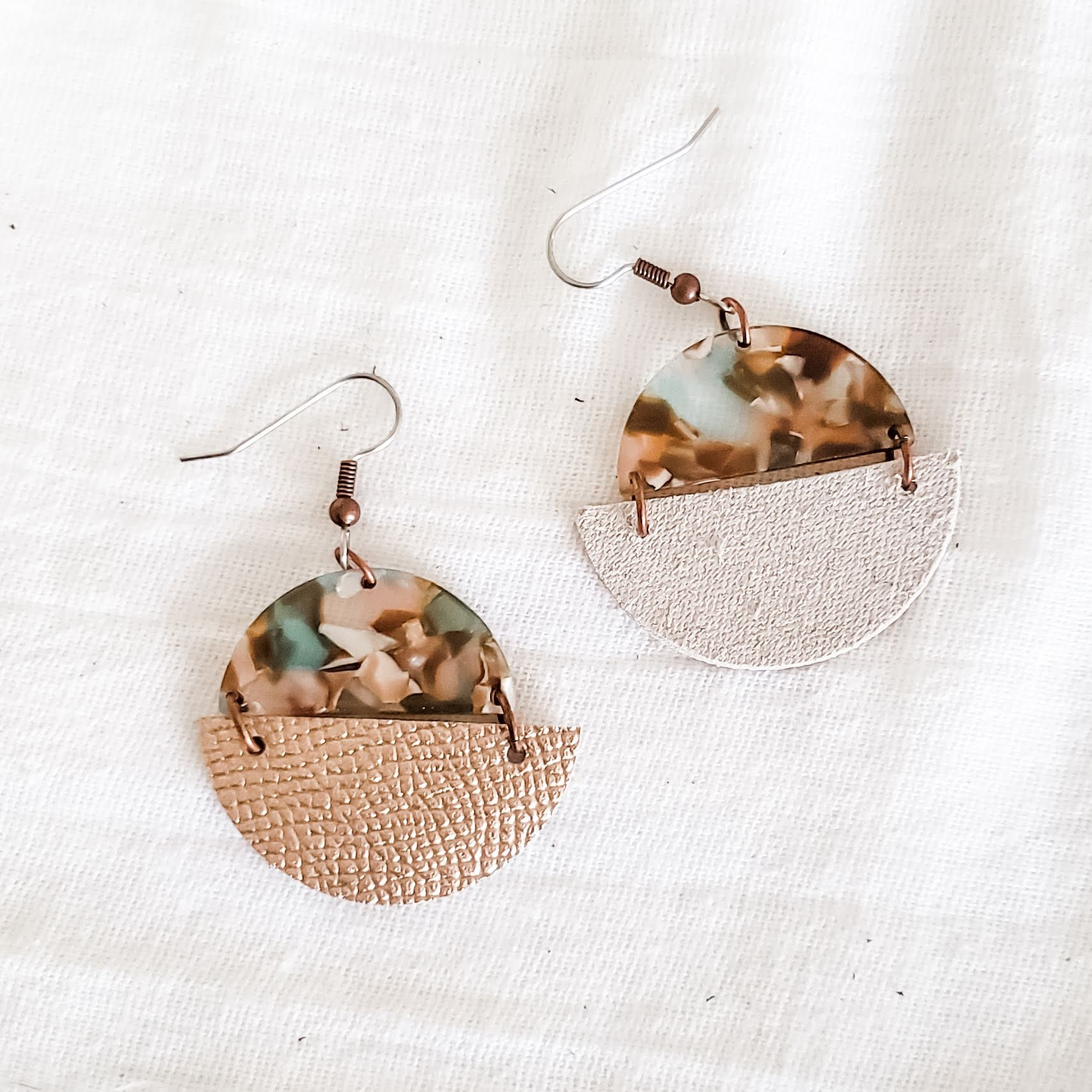 Semicircle Earrings Modern Earrings m Acrylic and Faux Leather Half Moons Earrings Gifts for Her Glitter Acrylic