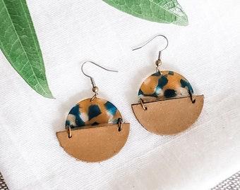 Geometric Leather & Acrylic Resin Statement Earrings, Half Moon Semi Circle Earrings, Lightweight Earrings, Modern Boho Earrings, Teal / Tan