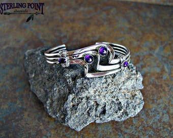 Lady's Silver Cuff bracelet Sterling Silver Amethyst Triple Wave Bracelet Elegant Modern Classy Stylish Edgy Gift for her, Gift for Mom