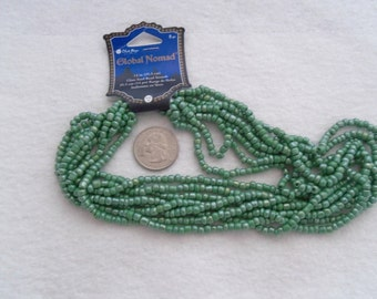 Glass Seed Beads - Green Pearlescent Full Hank (1719)