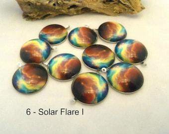 M* - 20 mm Galaxy Cabochons with Silver Plate Backs - Pack of 10 (1232)