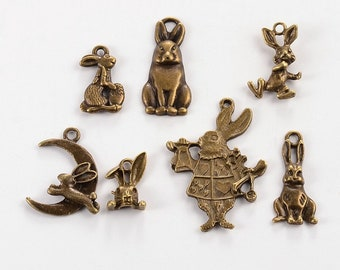 Antique Bronze Easter Bunny Charm Assortment (125-2018)