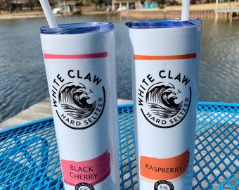 White Claw Rasberry White Girl Wasted 16 oz Stainless Steel Skinny Tumbler With Clear Lid and Metal Straw