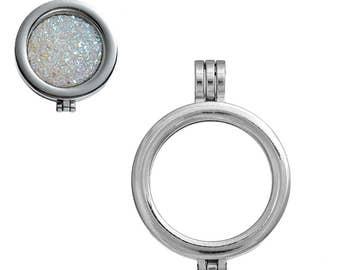 Coin holder pendant etsy 1 silver tone 33m round coin holder locket pendant b166j aloadofball Images