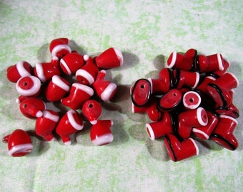 Handmade Holiday Santa Hat or Boot Lampwork Glass Beads (B418a1-2)