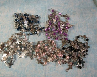 "39"" Handmade Round Glass Pearl Bead/Cross Chains (B90c)"