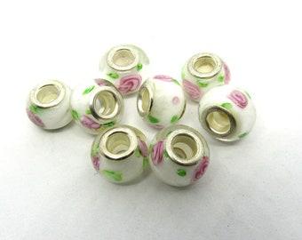 8 White Lampwork Glass European Style Beads w/Roses  (B507k4)