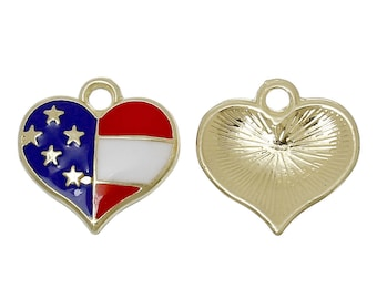 5 Gold Plated Enameled Heart Charm/Pendants 17 x 17mm (B261h)
