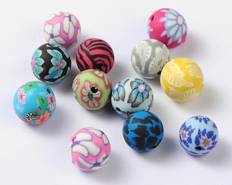 50 Handmade Polymer Clay Round Beads 10mm (B3j)