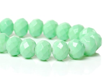 8mm Faceted Crystal Glass Rondelle Bead Strand - Mint Green (B98b)