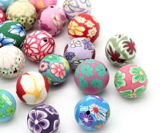 30 Handmade Polymer Clay Round Beads 12mm (B519H)