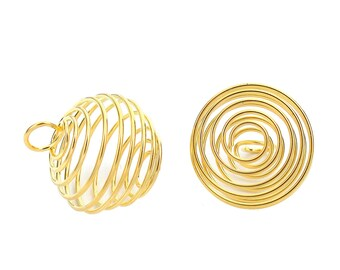 10 Large Gold Plated Lantern Spiral Bead Cages 29 x 25mm (B457h)