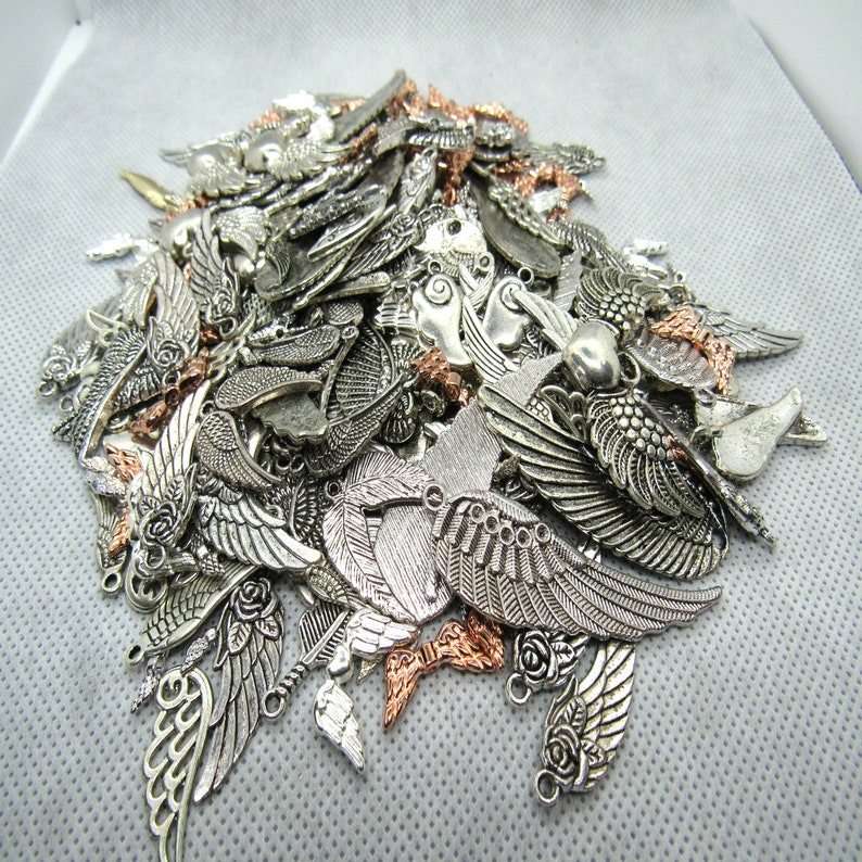 B117k 275G Wholesale Lot Assorted Metal Alloy WingFeather Charms