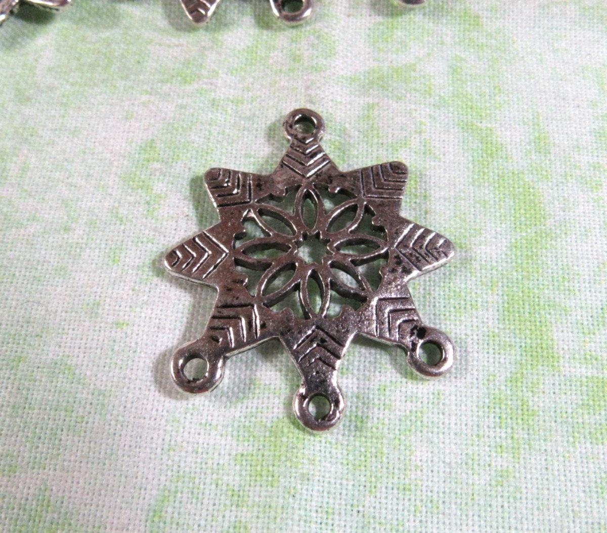 10 Silver Tone Snowflake Chandelier Link/Connectors 31 x 26mm