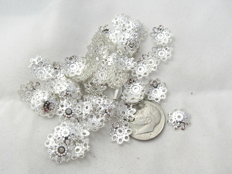 BE 50 Silver Plated Square Bead Frames 12x12mm Findings