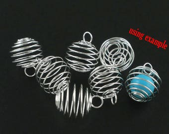 10 Large Silver Plated Lantern Spiral Bead Cages 25 x 20m (B233j)