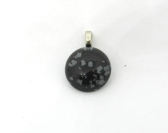 1 Natural Snowflake Obsidian Gemstone Round Pendant 18mm (B508a1)
