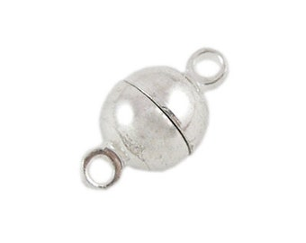 10 Sets Silver Tone Round Magnetic Clasps 6mm (B7j4/315b)