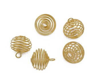 10 Large Gold Plated Lantern Spiral Bead Cages 21 x 20mm (B529c)