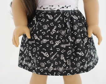 Black Musical Skirt With Contrasting Waistband