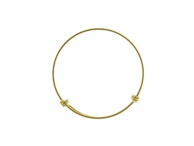 Gold Stainless Steel Adjustable Wire Bangle Bracelet 65mm For DIY Charm Bracelets 2.6 inches
