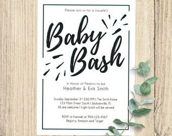Baby Bash Baby Shower Invitation | 5x7 Digital | Blue